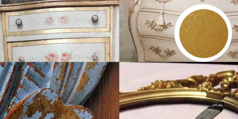 Imágenes de pintura a la tiza dorada o chalk paint oro