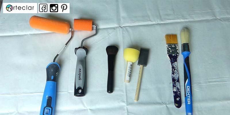 Brochas, pinceles y rodillos para pintura a la tiza